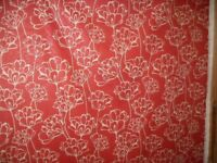 Red and White Floral Design Fabric ID 18/1/18