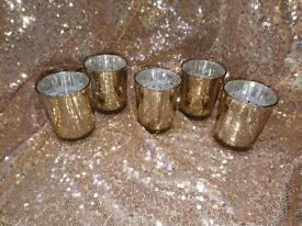 Wedding party centrepiece Mercury Glass candle Tea Light votive Holders champagne gold