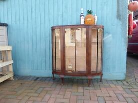 1940's-1950's Vintage Bow front glass Cocktail/Drinks/Display cabinet, Retro, Shabby Chic