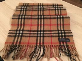 Genuine Burberry Nova Check cashmere wool scarf