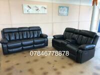 Black leather recliner sofa brand new