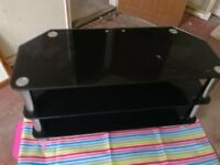 2 x TV stands for sale, suitable for up to 42 inch TV, black glass with silver legs