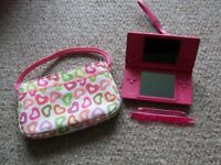 Pink Nintendo DSi Console and case