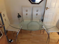 Luxury Glass Oval Table Plus 4 Chairs , Hardly used , can be dismantled