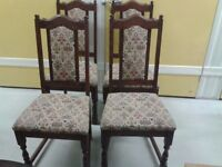 4 luxury dining chairs, solid oak, carved leg & back. genuine Old Charm