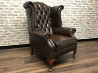 Antique Brown Chesterfield Queen Anne Wing Chair