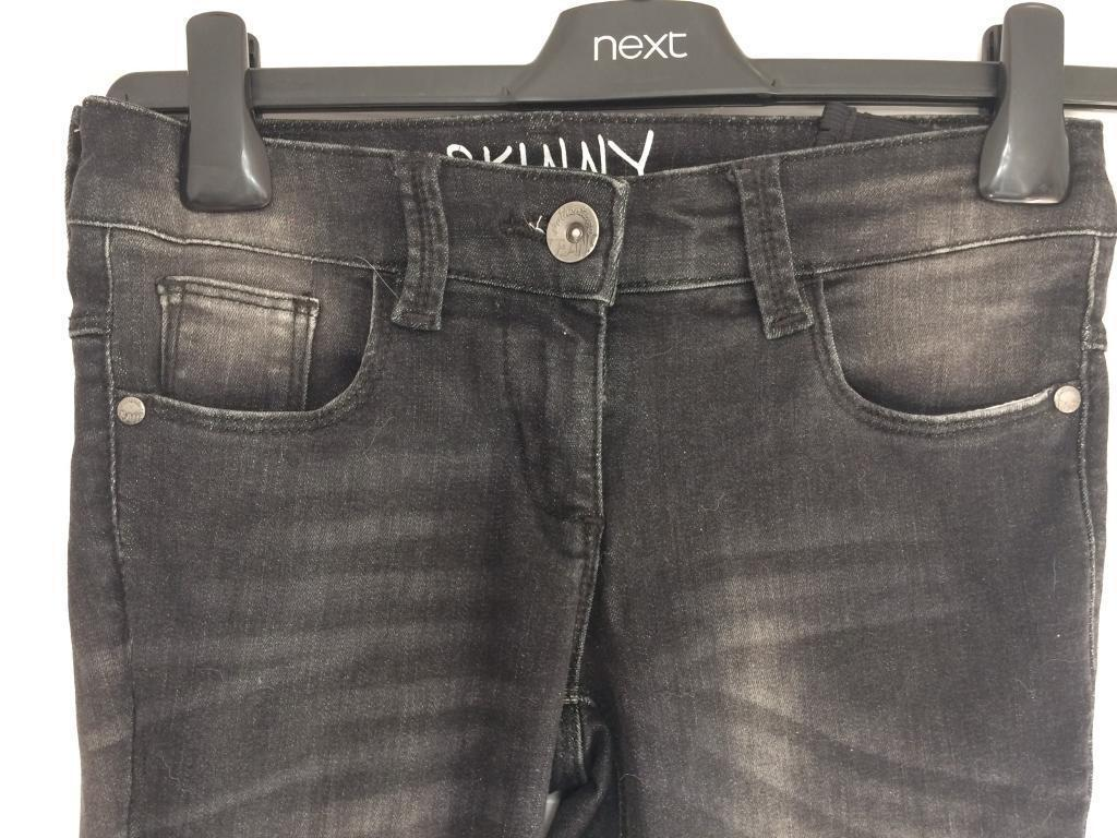 Next Girls Black Skinny Jeans ripped knees Age 9-10 years exc Cond