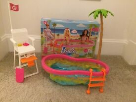 Barbie Glam Laundry(brand new)and beach party playset