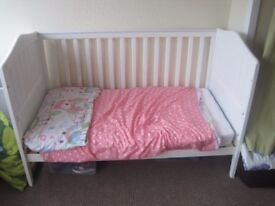 White cot bed Kiddicare in good condition 140cm X 70cm