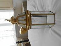 Hexagonal Brass & Glass Coach-lamp style pendant light fitting - 16ins X 6ins