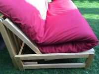 Solid wood futon frame with mattress and washable cover, good condition!
