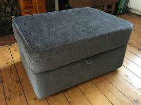 DFS Grey Fabric Storage Footstool