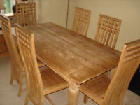 Reclaimed Teak Dining Table & 6 High Back Chairs