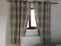 Next check curtains, 2xpair, natural colour