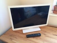 """24"""" White Toshiba Flat Screen TV with Built in DVD Player"""