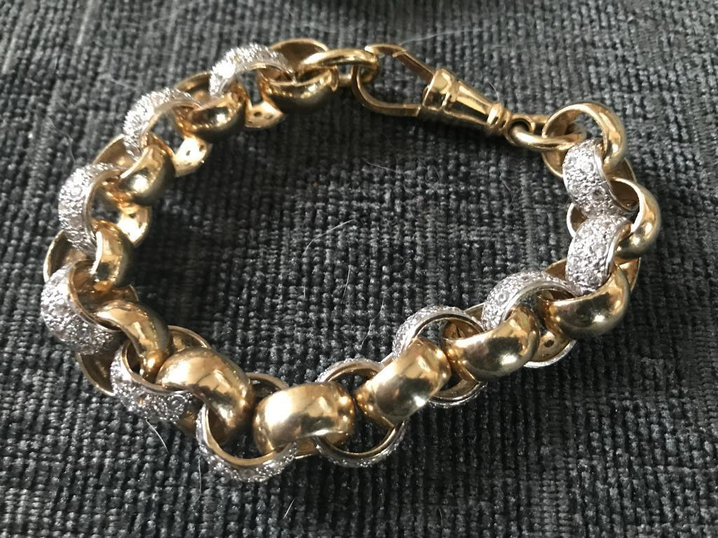 Very Large And Heavy 9ct Gold And Cz Belcher Bracelet 9