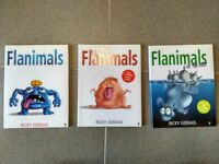 3x Flanimals books by Ricky Gervais, Very good condition hardbacks with sleeves