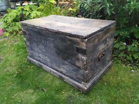 Old Wooden Trunk - 36 inches x 20 inches x 21 inches high - Great Coffee Table -