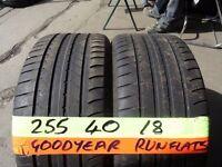 matching pair 255 40 18 goodyear r/flats 6mm tread £80 pair supp & fittd (LOADS MORE AV SUNDAY 5PM)