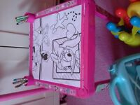 Childrens' toy bundle - hobby horse, colouring table, skittles, doctor set and playmobile set