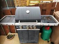 Gas BBQ, 3 Burner barbecue with hob burner and gas