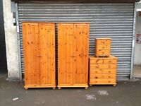 2 x pine wardrobes draws and bedside