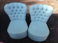 2 X vintage armchair sofa green retro style
