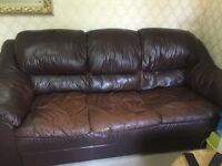 Real leather sofas in very good condition. 2 sets of 3seater sofas and 1 set of 2 seater sofa.