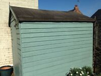 Painted garden shed duck egg blue in great condition