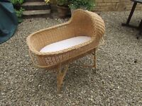 Wicker Moses Basket on stand