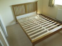 King size bed frame in solid wood with wooden headboard