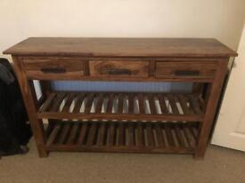 Solid dark wood side dresser/unit