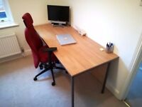 Large Beech Wood and Metal Office Desk (179 x 75 x 72) - £49 ONO