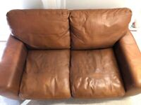CAN DELIVER/ TAN BROWN LEATHER SOFA