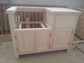 Free Standing Belfast Sink Kitchen Unit made from solid pine suitable for 600mm width Belfast Sink