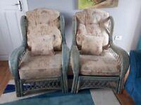 Wicker rattan patio garden sofa and 2 armchair set