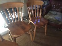 6 Farmhouse Solid Pine Chairs