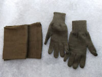 Genuine Czech Army winter scarf and gloves £5