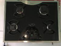 Gas Hob, Whirlpool AKR301 Black Glass Gas Hob