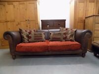 Brown Leather & Fabric Tetrad Buster 2 Seater Sofa