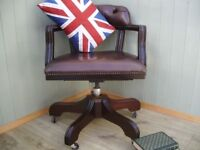 Stunning Brown Leather Chesterfield Captains Chair.