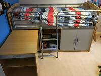 FREE collect only Admiral Cabin Bed with pull out desk shelves & cupboard storage