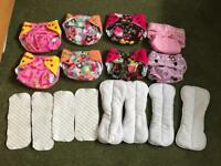 8x reusable/washable girls nappies with stuff able insirts
