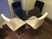 Glass Dining Table and 4 x Leather Chairs