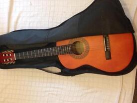 Normal dark red guitar.