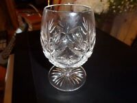 6 cut glass small brandy glasses