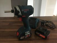 Bosch 18v impact driver, wireless charger and 2 batteries