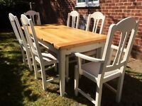 "Stunning Solid French Oak Extending Dining table and 8 Chairs set ""Seller Refurbished"""