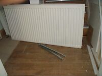 Central heating double radiator 120cm x 60cm (by 10cm deep) including the wall brackets