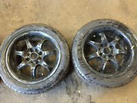 "honda civic wolfrace alloys with tyres in black 4x100 15"" ek4 vti ej9 eg"